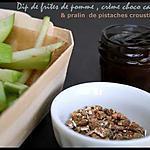 recette ** Idée de Goûter ludique, sain & gourmand: cornet /barquette de Frites de pomme granny, sauce choco- carambar et pralin **