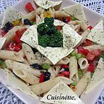 recette Pâtes penne en salade et ces légumes.