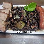 recette Lentilles aux saucisses fumées et poitrine de porc.