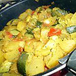 recette Poêlée de pommes de terre et courgettes au curry