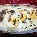 recette Gratin aux œufs durs. lardons fumés. crème de gruyère.