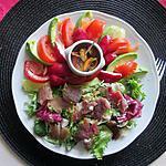 recette assiette  crudités, magret séché ,moules  marinées