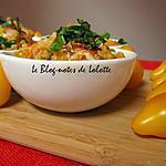 recette Pilaf de boulgour aux crevettes et au crabe, vinaigrette de tomates aux herbes
