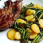recette Poelé haricots vert / p de terre sautées et sa bavette grillée
