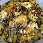 recette Poulet safrané aux olives et pommes de terre