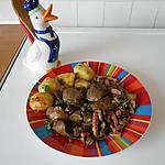 recette Fricassée de foies de volaille aux lardons et champignons.