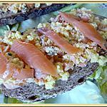 recette Tartines d'œufs brouillés au saumon fumé