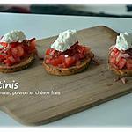 recette Crostinis de tomates/poivron et chèvre frais