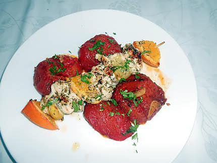 Brochettes de poulet citron orange miel 430