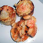 recette BOUCHEES DE FRUITS DE MER SAUCE CREVETTES