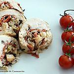 recette Ballottine de volaille aux riz sauvage chorizo et crevettes