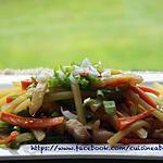 recette Pomme de terre sauté avec poivron vert et carotte.
