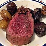 recette Rôti de bison sur son lit de pomme de terre vitelotte de mon mari