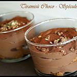 recette ** Verrine de crème (légère)-ment mousseuse au chocolat ( tofu soyeux ) façon tiramisù aux spéculoos **