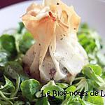 recette Aumônières au cabécou, crevettes et antipasti
