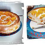 recette biscuit de savoie à la pêche et éclats de pralin