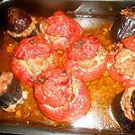 recette Aubergines et tomates a la farce fine