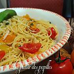 recette ~Spaghettis (vermicelles) à l'ail et aux tomates fraîches~