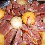 Magret de canard aux peches roties