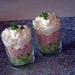 recette Verrine concombre jambon et crème boursin ail et fines herbes