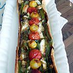 recette tarte fine aux oignons nouveaux et tomates mirabelles.