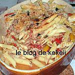 recette Gratin de penne aux poivrons, olives et thon