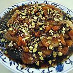 recette Poires au four avec sauce au vin, abricots secs et pistaches