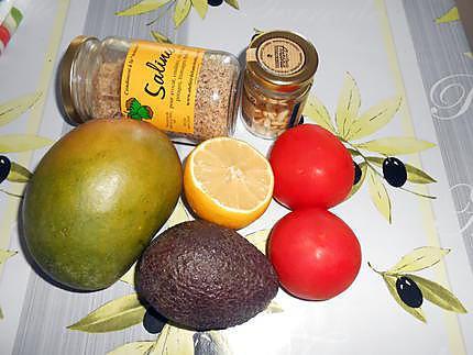 Carpaccio mangue, avocat, tomate, mozzarella  430
