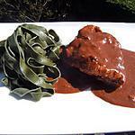 recette Poulet au chocolat et tagliatelles à la spiruline