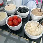 recette Assortiments de tartinades ( rillettes de poulet, rillettes de sardine, rillettes de surimi, tzaziki)