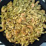 recette tagliattelles fraîches crevettes et pesto