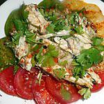 recette Salade de tomate verte,jaune, rouge au maquereau
