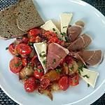 recette Pêches et salade aux tomates