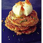 recette Galettes de thon au flocon d'avoine, oeuf mollet et copeaux de parmesan