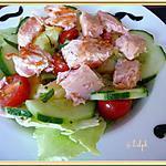 recette Salade de pommes de terre, concombre et saumon mi-cuit.