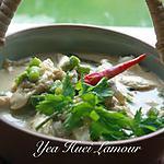 recette Poulet avec haricot vert au curry rouge et du lait de coco