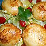 recette feuilletés de chevre sur lit de laitue