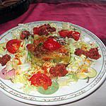 recette gratin   courgette spaghetti ; salade tomate;;; soubressade, longanisse