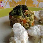 recette Lotte à l'émulsion coco et son risotto aux petits légumes printaniers