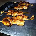 recette Brochettes apéritive de crevettes yakitori