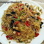 recette Nouilles végétariennes au tofu mariné et légumes sautés