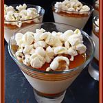 recette Pana cotta avec son coulis de Caramel et Pop corn.