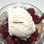 recette Poires au vin sur lit de banane vanillé
