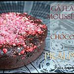 ** la recette du merveilleux gâteau fondant/mousseux au chocolat de L.Salomon avec de la fraise et des pralines rose !**