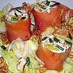 recette Roulés ou roulades de saumon fumé au roquefort et noix
