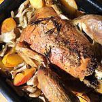 recette Poulet rôti aux pleurotes et aux prunes