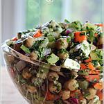 recette ~Salade de pois chiches, concombres et herbes fraîches~