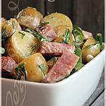 recette Salade-repas de pommes de terre grelots, de haricots et de jambon~