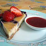 recette Cheesecake à la myrtille, coulis de fraise