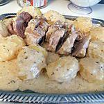 recette Roti de porc et ses pommes de terre a la creme d'ail